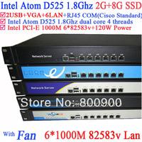 small business server 1U with 6*82583v Gigabyte LAN Intel D525 1.8Ghz support ROS Mikrotik PFSense Panabit Wayos 2G RAM 8G SSD