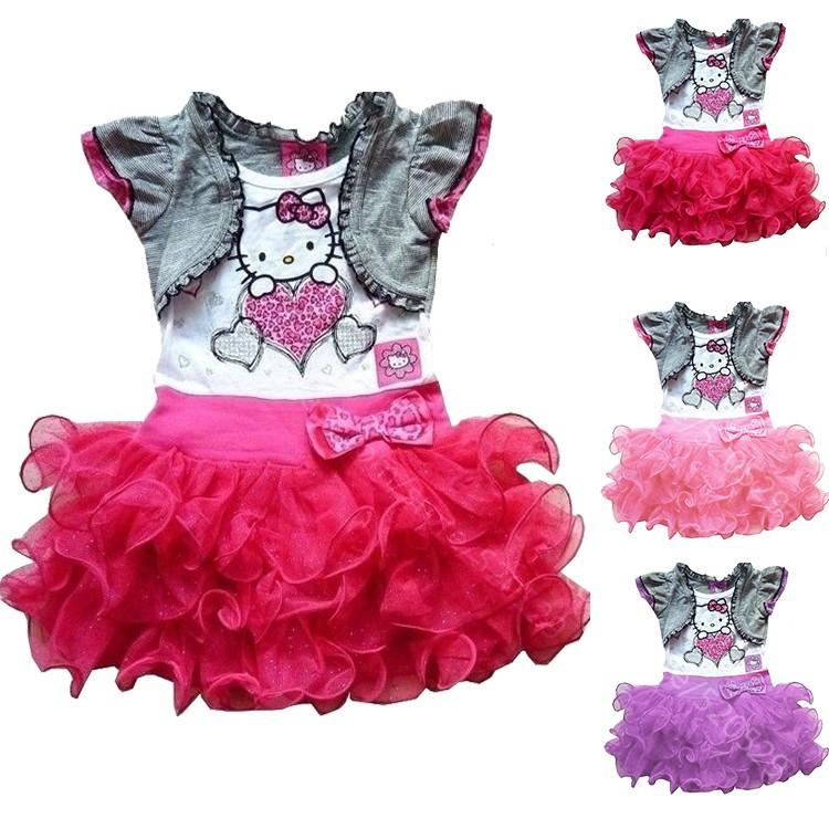 2014 new baby girl summer dress hello kitty Princess girl short sleeve dress beautiful party bowknot dress free shipping(China (Mainland))