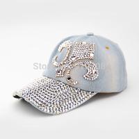19 MODEL for choose High Quality full rhinestone denim sun-shading baseball cap female Diamond summer sun hat cap women's