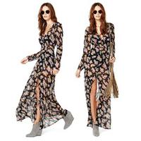 XS - XXL Small Floral Print Dress Women Long Sleeve Black Flower Soft Chiffon Long Dress 2014 Spring Summer New Brand Plus Size