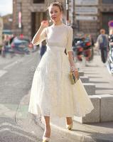 2014 spring summer women vintage fashion patterns organza lace high-low long skirt irregular ball gown brand skirts white black