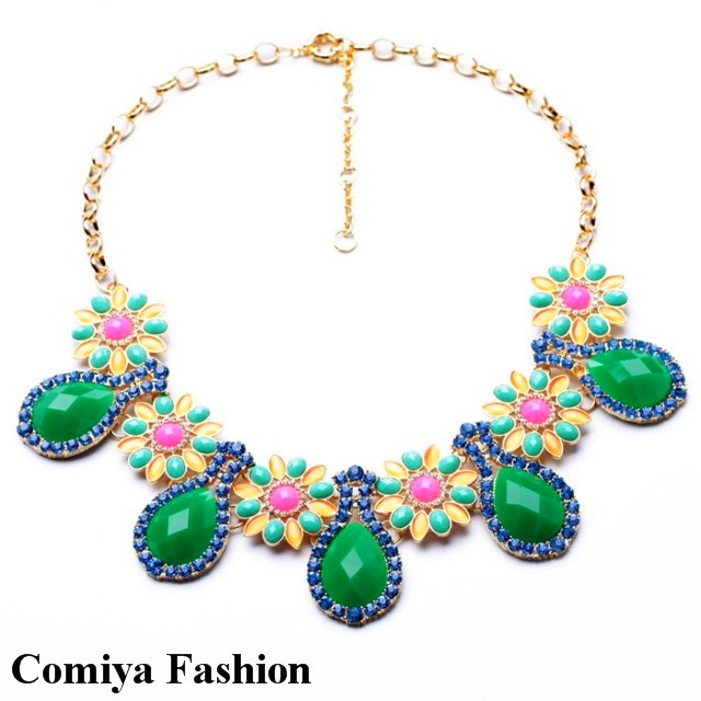 New 2014 Spring Fashion accessories bohemia eye drop flower neon scorpion choker necklaces & pendants bijoux cc brand jewelry(China (Mainland))