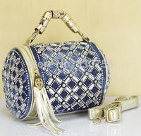 Women Silver Pu Leather Woven Denim Small Handbag Flash Rhinestone Rhombic Plaid Fringed Golden Handle Barrel Messenger Bag