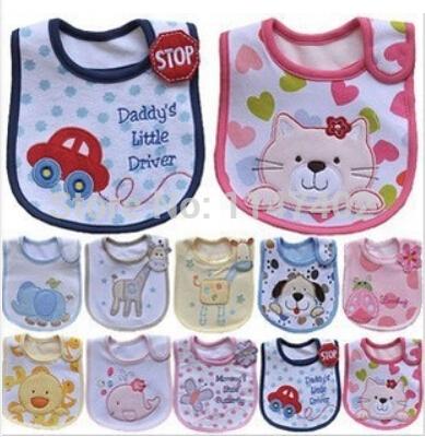 100% cotton Baby Boy Girl Baby Carter's Bibs Waterproof Saliva Towel Scarves Feeding Apron 3pcs/lot mixed colors(China (Mainland))