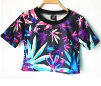 Cheap 2014 Harajuku fashion Vintage Neon Marijuana Maple leaf print crop tops young girl clothing short design Tee t shirt Wear