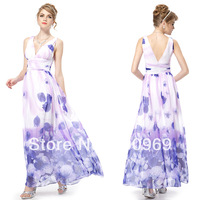 08144 Deep V-neck Flower Printed Chiffon Maxi Party Dress