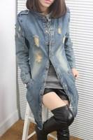 New Fashion 2014 Women Jeans Trench Coat Lady Denim Trench Coat Jeans Outerwear Cool Woman Denim Windbreaker Size L XL ,B1761