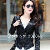 Free shipping 2014 new women fashion PU leather jacket motorcycle jacket women short paragraph