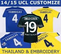 A+++ Top Thailand Quality 2015 EPL Diego costa  Soccer Jerseys Hazard Felipe Fabregas 14 15 Home Blue Football Uniforms Shirts