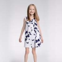 Girls Dress New Designer 2014 summer girl's dress butterfly print dress 100% cotton baby sleeveless dress wholesale 6pcs/lot