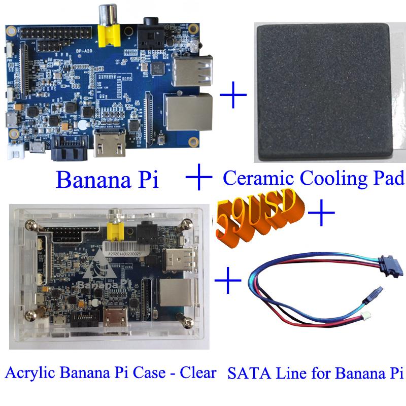 Value combination Banana Pi+Acrylic case+Sata cable +cooling pad(China (Mainland))