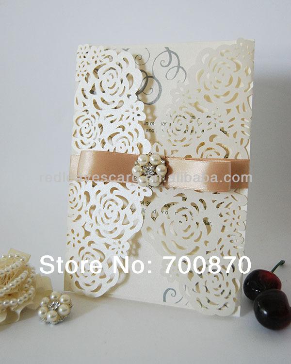 Nova chegada : IC1202-13 folhas vermelhas Rose Laser cortar o cartão do convite para o casamento(China (Mainland))