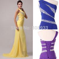 2015 New Elegant One Shoulder Long Mermaid Evening Dresses Bandage Sequin Floor Length Sexy Prom Chiffon Maxi Party Dress CL4971