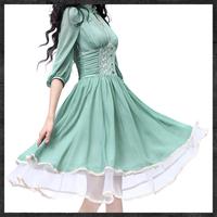 2014 spring women's lace embroidered slim waist long-sleeve chiffon Swing hem dress