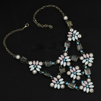 2014  Fashion Brand Necklace Fashion Vintage Flower Necklaces & Pendants Crystal Choker Statement Necklace women jewelry J C