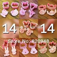Free Shipping 7 Sets=14 Pcs/lot 3D Cartoon Cookie Cutter Cake Fondant Mould Tools Sugarcraft Decorating Tools Shaper