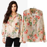 2014 Hot Sale Chiffon Blouses Vintage Flowers Prints Lapel Collar Long Sleeve Casual Shirts Women Tops blusas femininas GY3126