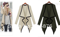 New 2014 Knitted Long Cardigan Women Fashion Leisure Irregular Turn-down Collar Jacket Coat Sweater Women Knitwear 5 Color