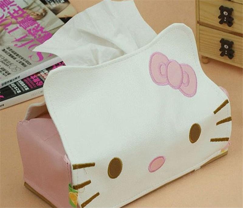 Hello Kitty leather paper towel box KT cartoon cat napkin extracting facial tissue box by EMS(China (Mainland))