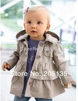 2014 Spring Autumn Baby girl Jacket Princess toddler kids  cotton long warm coat Hooded Windbreaker children clothing retail
