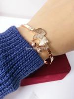 free shipping 24pcs/lot 2015 Sheep Bangles rose Gold plate Titanium Steel Sheep Charm Bell Bracelet For Women lady girl kids