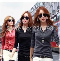 New 2014 Spring and Autumn Fashion  Long Sleeve Tshirts Women  V-Neck  Slim T Shirt Top Women Clothes Blouses Shirt  9025