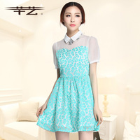 2014 summer sweet gentlewomen small fresh flower patchwork peter pan collar one-piece dress