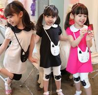 Girls clothing sets 2014 New summer set 2pcs Girl Kids Cute Cat short sleeves Dress + Leggings suits casual brand set