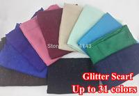 10pcs/lot Glitter Shinning Bling Scarf Shawl Head Wrap Plain Solid Color Long Shawls Muslim Scarves Hijab, Free Shipping