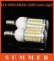 1pc E14 SMD 5050 15W E14 LED corn bulb lamp, Warm white / white,69LEDs 5050SMD led lighting,Book light,kitchen use,energy saving