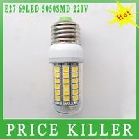 2014 NEW Arrive Ultra Bright 15W E27  5050 69LED Corn Bulb Light LED Lamp 200-240V 360 Degree White / Warm Energy Saving Lamp