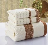 Free shipping, new 2014 three-piece bath towel towel mix, 100% cotton, three color options, plaid jacquard beach towel