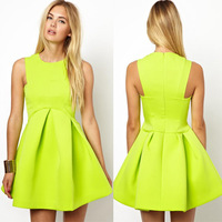 Top Quality New 2014 spring summer Fashion women Ball Gown Neon Green evening party dresses Mini Sleeveles Free Shipping
