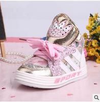 Free shipping girl sport shoes run 2014 autumn leather boots kids sneaker brand winter children running shoes girls 307