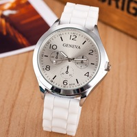 Hot Sale Watch 2014 New Fashion Casual Watch Silicone GENEVA Watch Women Men Pure Color Quartz Sports Watch Wristwatch Wholesale