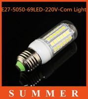 1pcs Ultra bright new SMD 5050 15W E27 LED 220V corn bulb lamp, 69LEDs, Warm white / white,5050SMD led lighting,free shipping