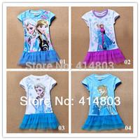 2014 new best-seller FROZEN elsa anna Short sleeve lace dress nighties/95-140cm (4 styles) 6pcs/lot