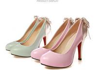 Women sweet 11 CM rubber High heel pumps/  Pink Light green Platform OL women shoe Size 34-43, Free shipping retail