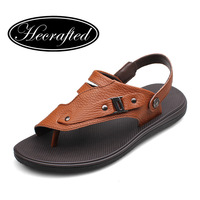 Handmade 37-44 genuine leather men sandals Slippers brand Flip Flops man summer soft leather shoes  original HECRAFTED brands