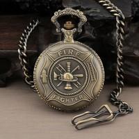 PQ056 - Hero Fire Fighter Bronze Vintage Quartz Men Pocket Watch + Chain