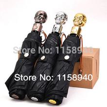 Hot sale 1 pcs 2014 Retro punk skull sunny umbrella. Automatic three folding umbrella.two person umbrella, Family rain gear(China (Mainland))