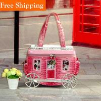 Pink Small Carriage Handbags Vintage New Fashion Crocodile Pattern Embossed Bag Ladies Pu Bag Small Designer Handbags Outlet