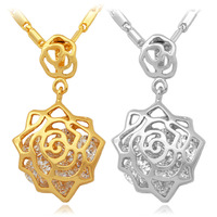 Vintage Infinity Rose Cubic Zirconia Necklace Pendant 18K Real Gold Plated Floating Charms Fashion Jewelry For Women MGC P5202