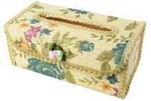 Flower Border Natural Bamboo Tissue Box Holder Cover (Burlywood,Flower Color Randomly)(China (Mainland))