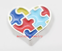 10pcs heart Autism floating  charms  for  glass  locket,FC-77.Min amount $15 per order mixed items