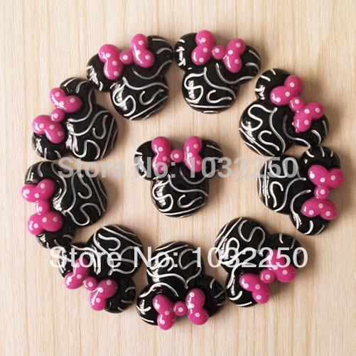 50pcs Zebra Minnie Quadro Pink Bow Resina Cabochões Flatback Plano Voltar cabelo Bow Center Deco Artesanato BXT226(China (Mainland))