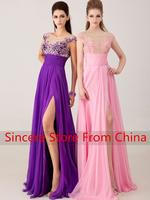 2014 slit neckline embroidered long design evening dress bridal dress e8411