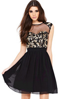 Vestidos 2014 Sexy Fashion Sequined Party Mini Skater Girl Dress Black Free Drop Shipping New Hot Summer Dress