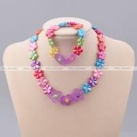 Flowers Floral Kids Plastic Bead Necklace Bracelet Elastic Multi-colored Baby Jewelry Set Children's Necklace Set Party Gift 2PC