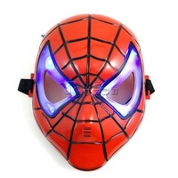 Spiderman Mask with LED Blue Light for Masquerade Party Halloween Cosplay Accessory